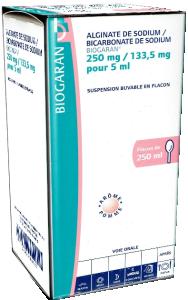 Alginate de sodium / bicarbonate de sodium biogaran 250 mg/133,5 mg pour 5 ml, suspension buvable en flacon